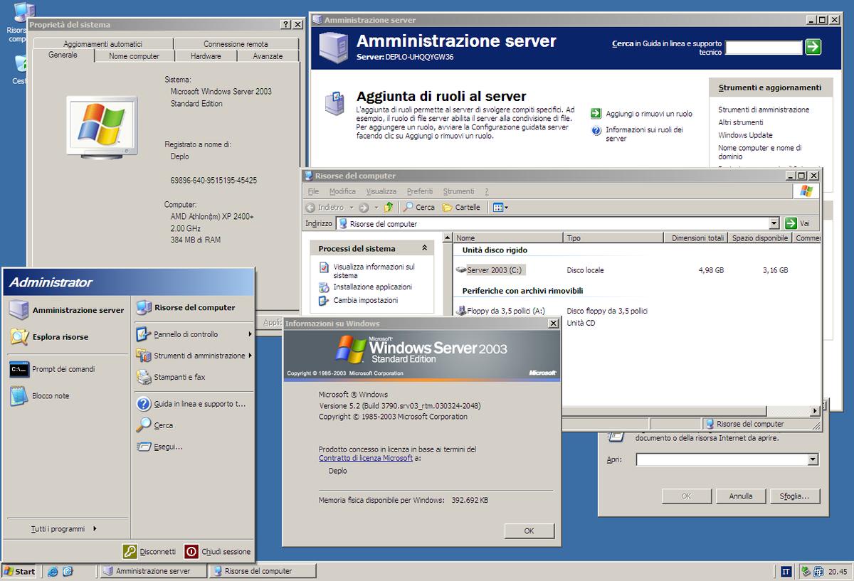 Windows Server 200 Standard Edition SP20 Italian  Microsoft ...